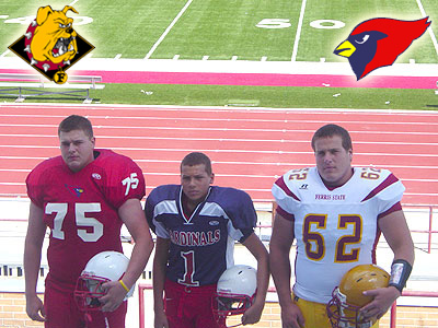 Big Rapids High School's Nate Hamel (left) and Ferris' Jake Hancock (right) join rocket football player Jamison Green (center)