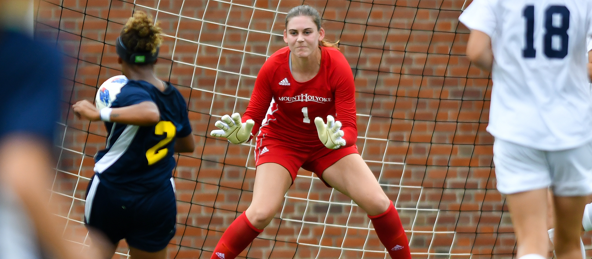 Action photo of Lyons soccer senior goalie, Amanda Manaster.
