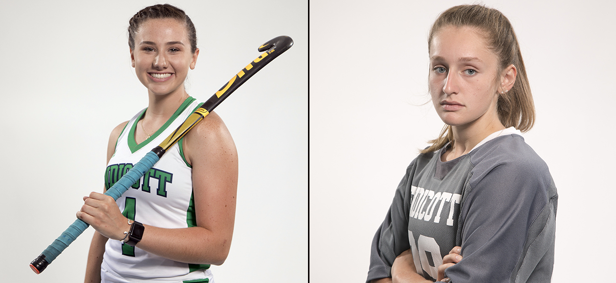 Split photo of two student-athletes.