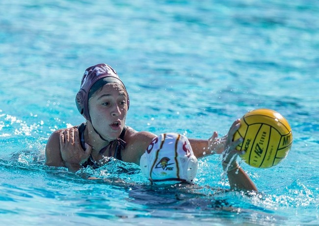 Mountie Women's Water Polo playing defense against Pasadena City