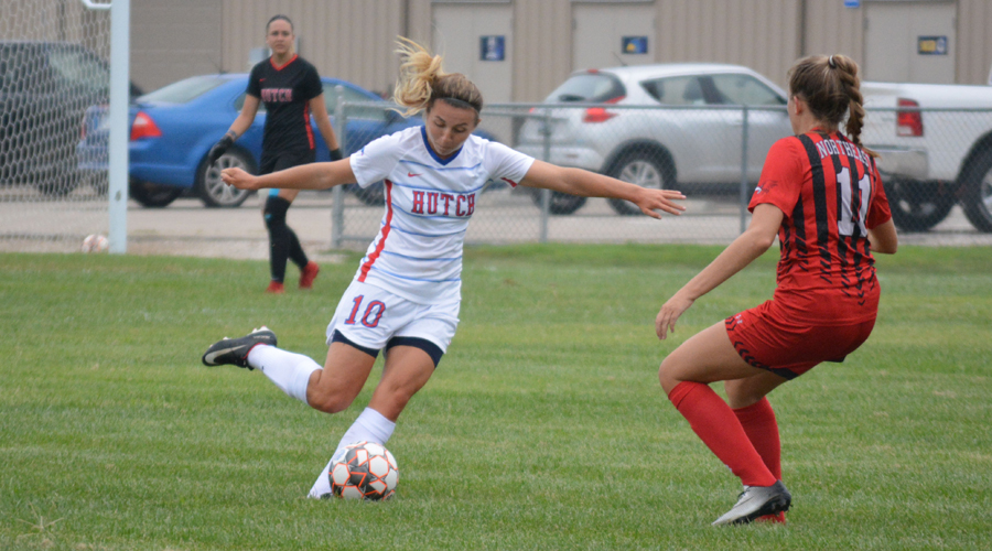 Megan Maslak scored a career high four goals and nine points in Hutchinson's 6-0 season-opening victory over Northeast Nebraska on Wednesday at the Salthawk Sports Complex. (Bre Rogers/Blue Dragon Sports Information)