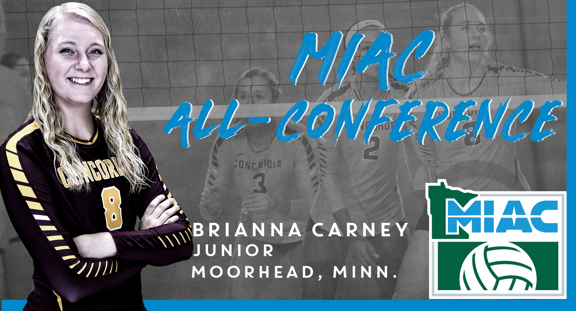 Junior Brianna Carney earned the second MIAC All-Conference honor of her career.
