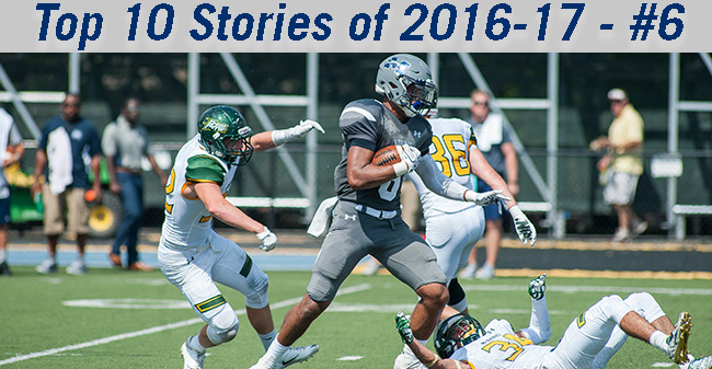 Wide Receiver Jalen Snyder-Scipio '16 breaks for the end zone with a touchdown reception against McDaniel College.