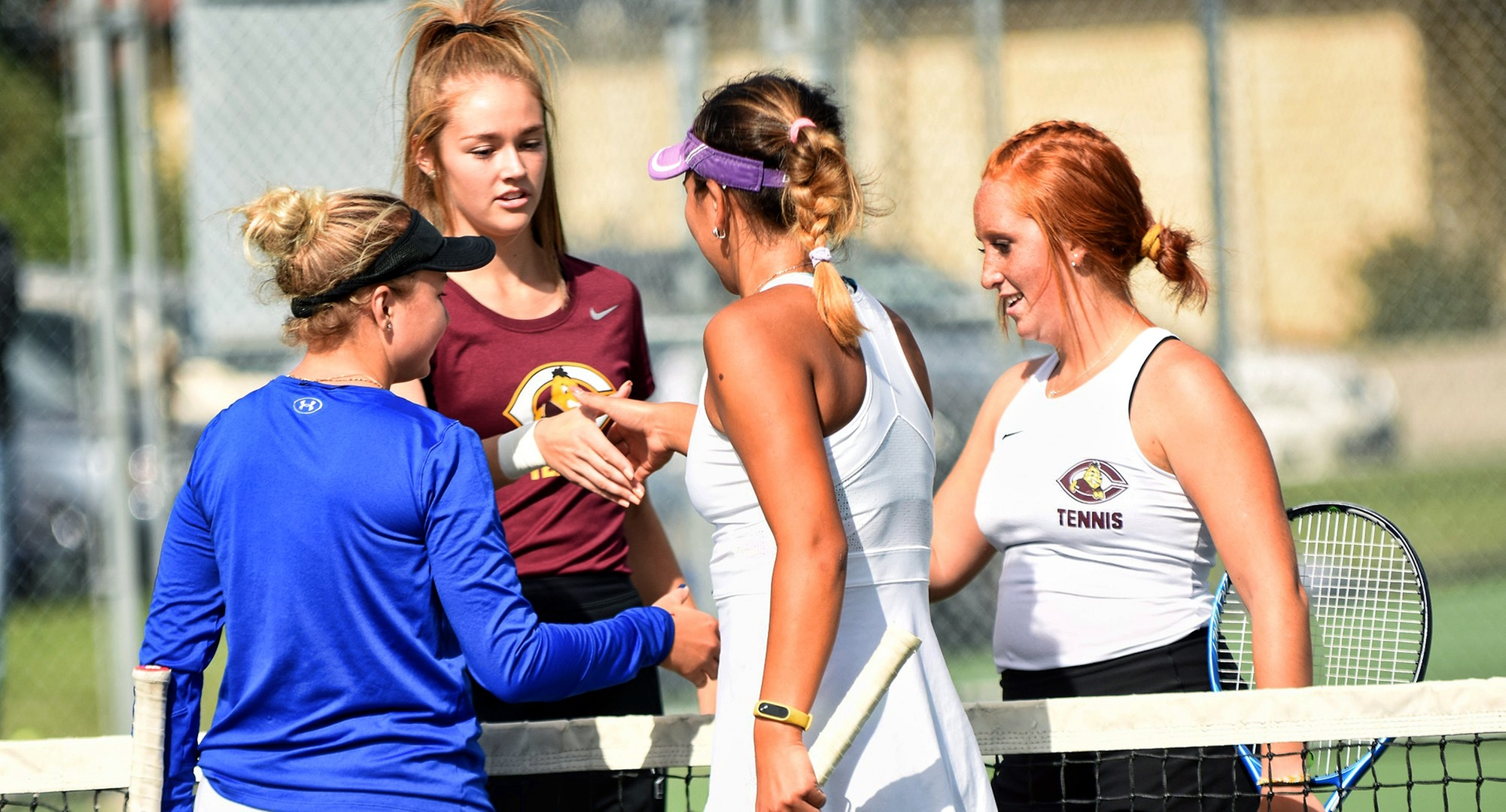 Raquel Egge (L) and Izzi Nankivel were paired together in doubles for the first time this season and responded with an 8-4 win against Ohio Northern.