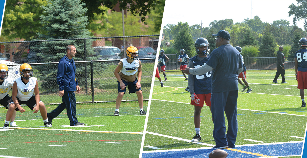 Photo for Southfield HS for the Arts and Technology and Dearborn Fordson HS Football On Campus for Preseason Camp