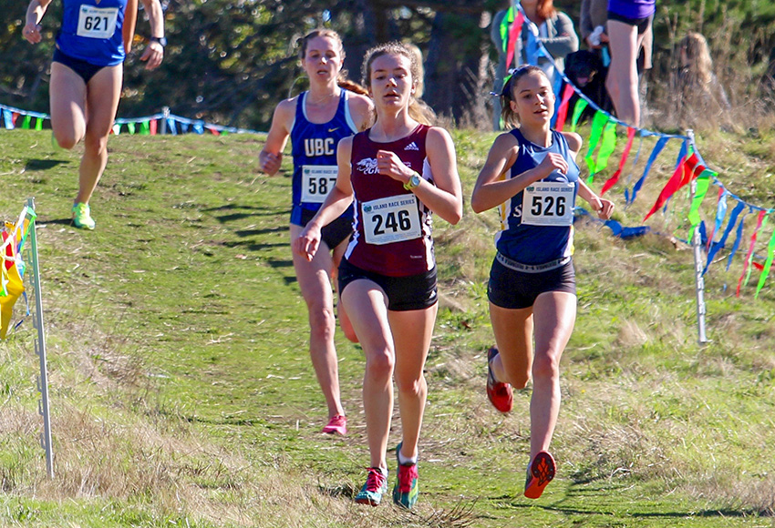 Emma Steele races home to a ninth-place finish among university competitors in the women's 8K at the University of Victoria Invitational last month. She will be in contention for the Canada West rookie of the year award at nationals in Kingston, Ont. on Saturday.