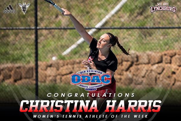 Christina Harris hits a serve. Text: ODAC LOGO, Congratulations Christina Harris women's tennis player of the week