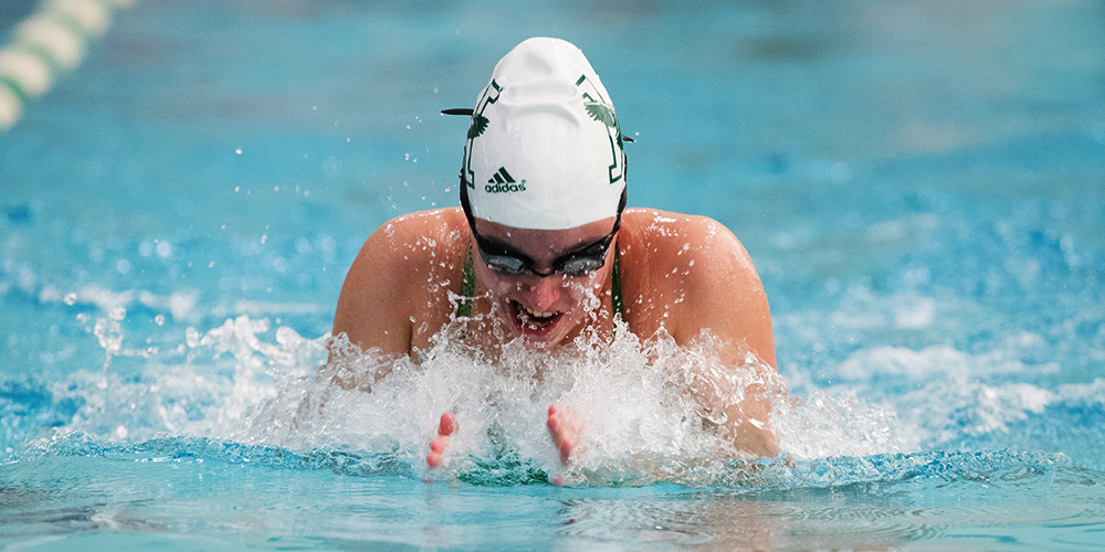 Women's Swimming & Diving Set 800 Free Relay School Record on Day One of NESIDA Championship