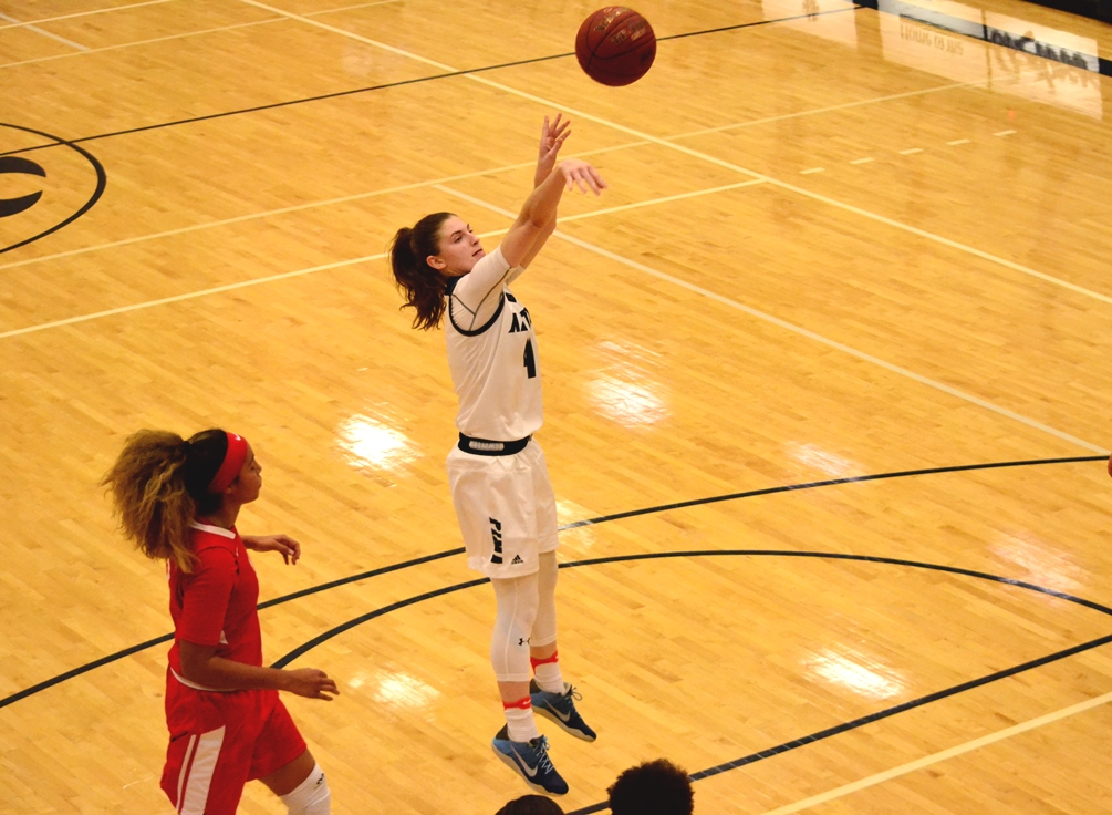 Sophomore Bree Cates hit the game-winning three-pointer with 2.6 seconds left in Pima's 93-90 win over Central Arizona College. It was the first time in program history the Aztecs had swept the Vaqueras in the regular season. Pima is 21-6 overall and 15-5 in ACCAC conference play. Photo by Ben Carbajal.