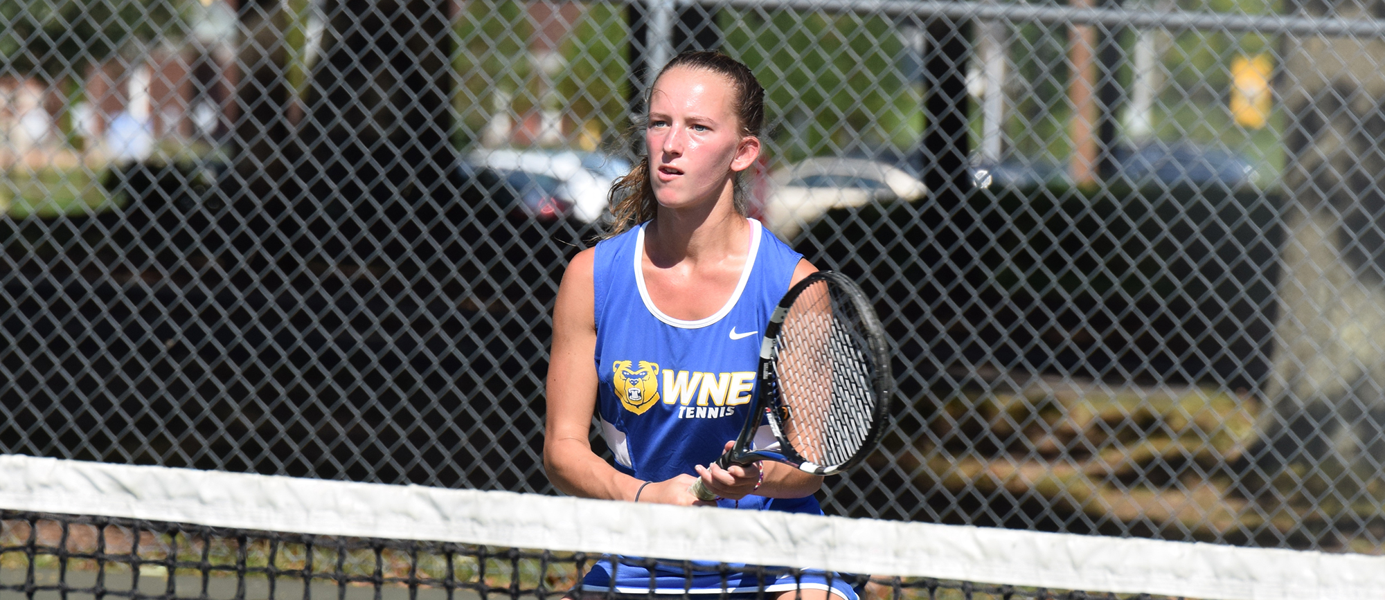 Junior Morgan Schrader posted a 6-1, 6-1 win at No. 2 singles, but the Golden Bears fell to JWU in their season opener on Sunday.
