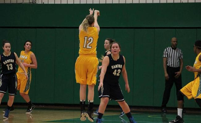 Senior Brittany Hadley and the Keuka College women's basketball team earned a pair of NEAC wins over the weekend to remain in the hunt for a berth in the NEAC postseason tournament (photo courtesy of Megan Chase, Keuka College Sports Information department).