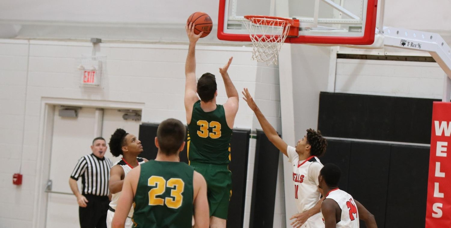 Ryder Mansfield (33) had a double-double for Keuka College -- Photo by Sarah Tyler