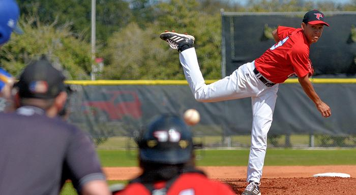 Maikor Mora got his first win of the season as the Eagles won twice today. (Photo by Tom Hagerty, Polk State.)