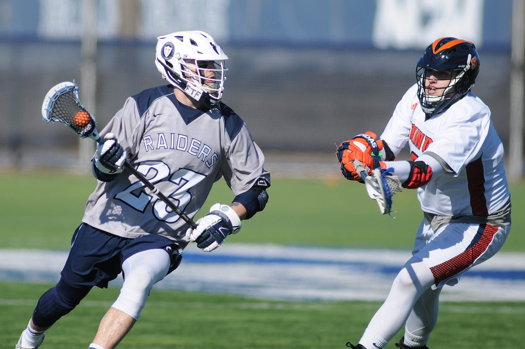 Men's Lacrosse: Raiders suffer conference loss to Lasers, 18-7.
