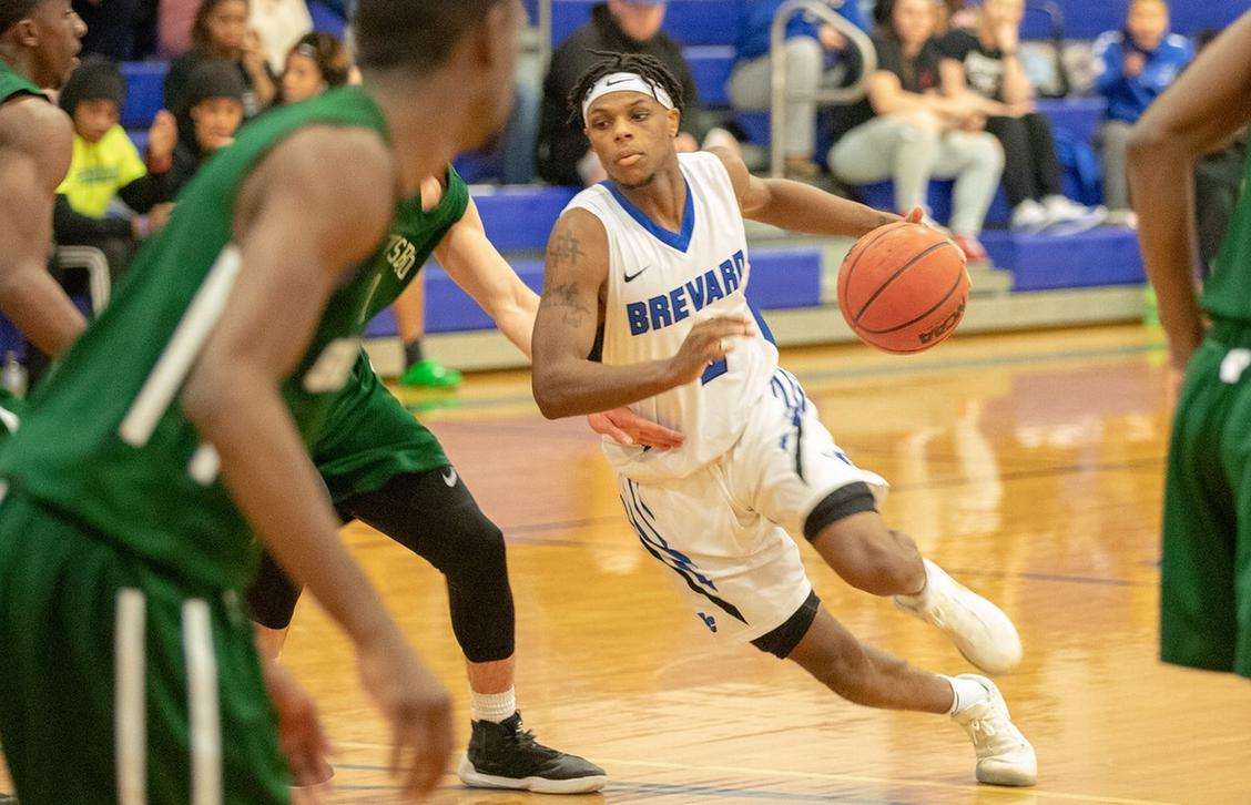 Demari Hopper logged 11 points, three rebounds, three assists, and three steals in Brevard's season-opener vs. Toccoa Falls (Photo courtesy of Thom Kennedy '21).