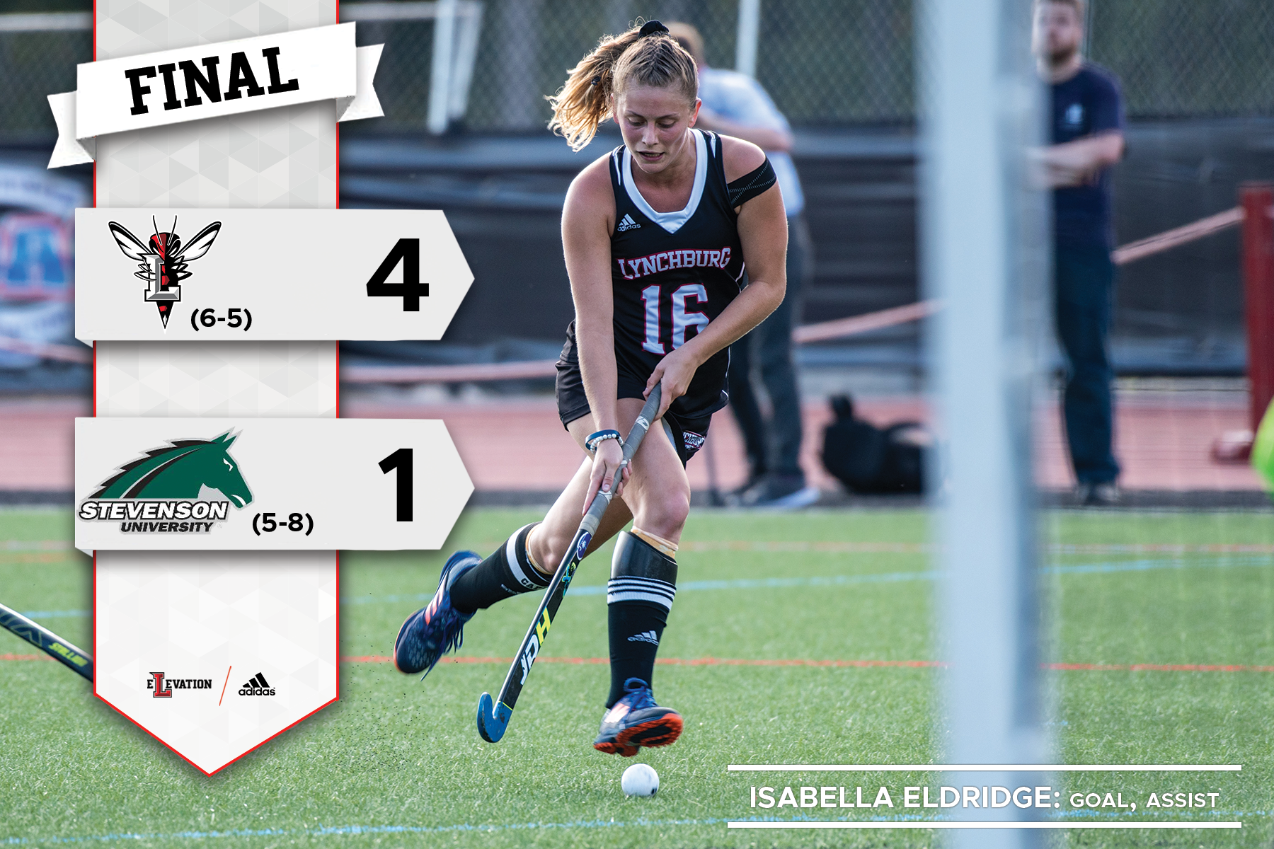 Isabella Eldridge hits a field hockey ball. Graphic showing final score 4-1 and team logos.