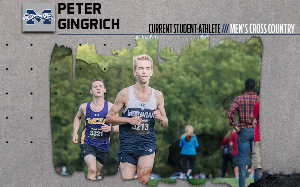 Current student-athlete Peter Gingrich running in a cross country race.