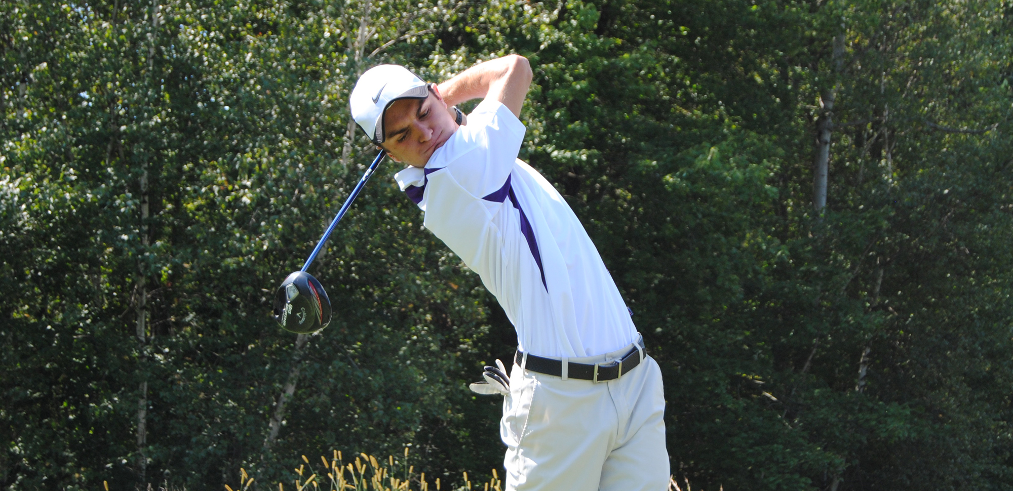 Senior Tyler Huggins shot 77 in the third round of the Empire 8 Conference Championship on Friday, tied for the second-lowest score of the day.