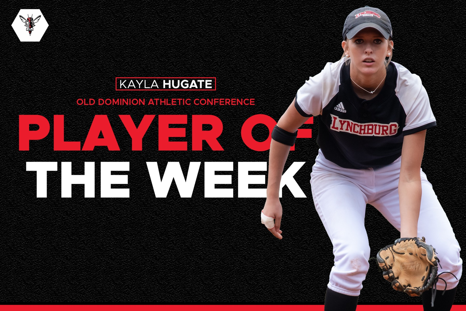 Kayla Hugate in fielding position over top of black and red ODAC player of the week graphic