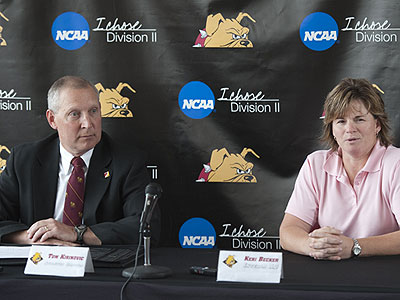 Retiring AD Tom Kirinovic & Interim AD Keri Becker at Wednesday's press conference (Photo by Ed Hyde/FSU Photo Services)