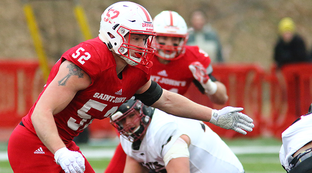 Hans Brinker at defensive end for St. John's. (Photo by Ryan Coleman, d3photography.com)