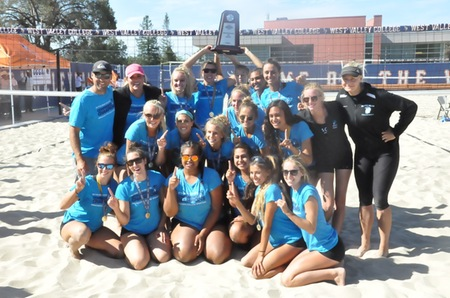 MiraCosta College women's beach volleyball team after winning the state championship.