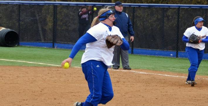 Perkins gem helps Softball salvage split with Dominican