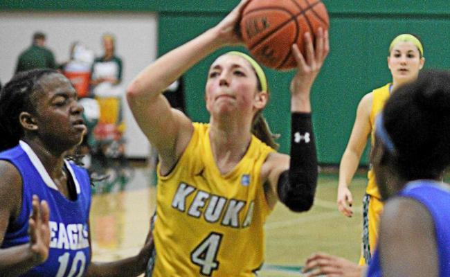 Sophomore Samantha Blum snared a career-high 10 rebounds as women's basketball knocked off SUNY Cobleskill 56-36 Saturday (photo courtesy of Ed Webber, Keuka College Sports Information department).