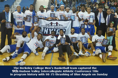 Men's basketball team records 50th consecutive victory with emotional 98-75 triumph over New Rochelle in HVIAC championship game