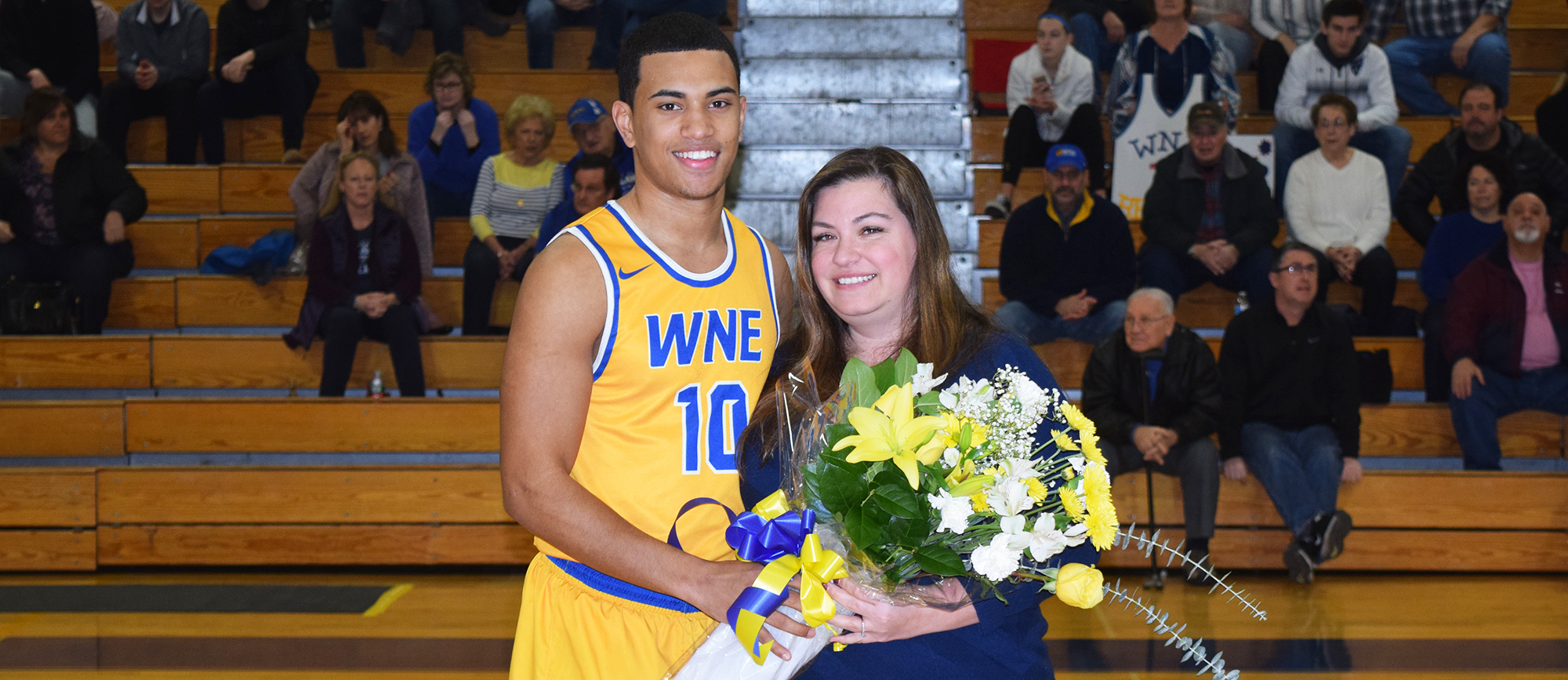 Senior Anthony Service was honored prior to the start of Western New England's 111-89 victory over UNE on Saturday. (Photo by Rachael Margossian)