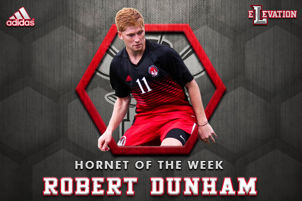 Hornet of the Week graphic showing Robert Dunham playing soccer.