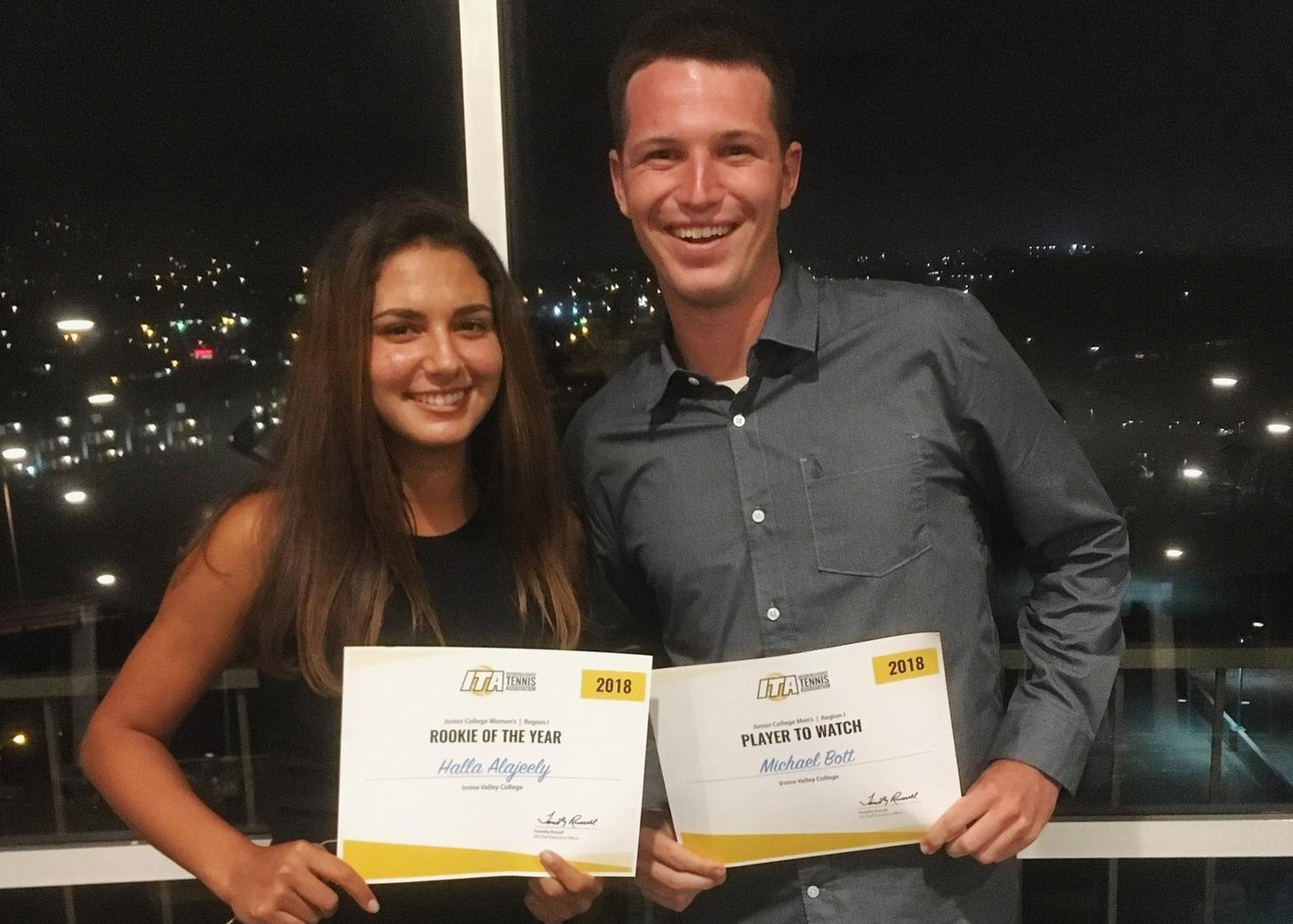 Tennis players Halla Alajeely and Michael Bott earn ITA awards