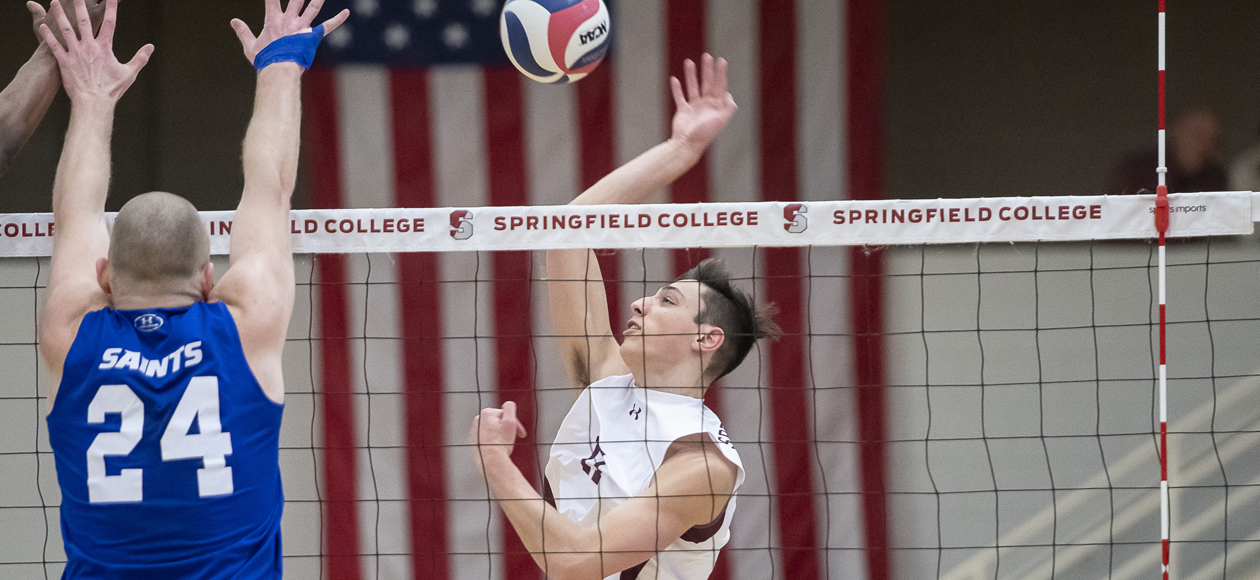 No. 1 Men's Volleyball Outlasts Elms and Elmira