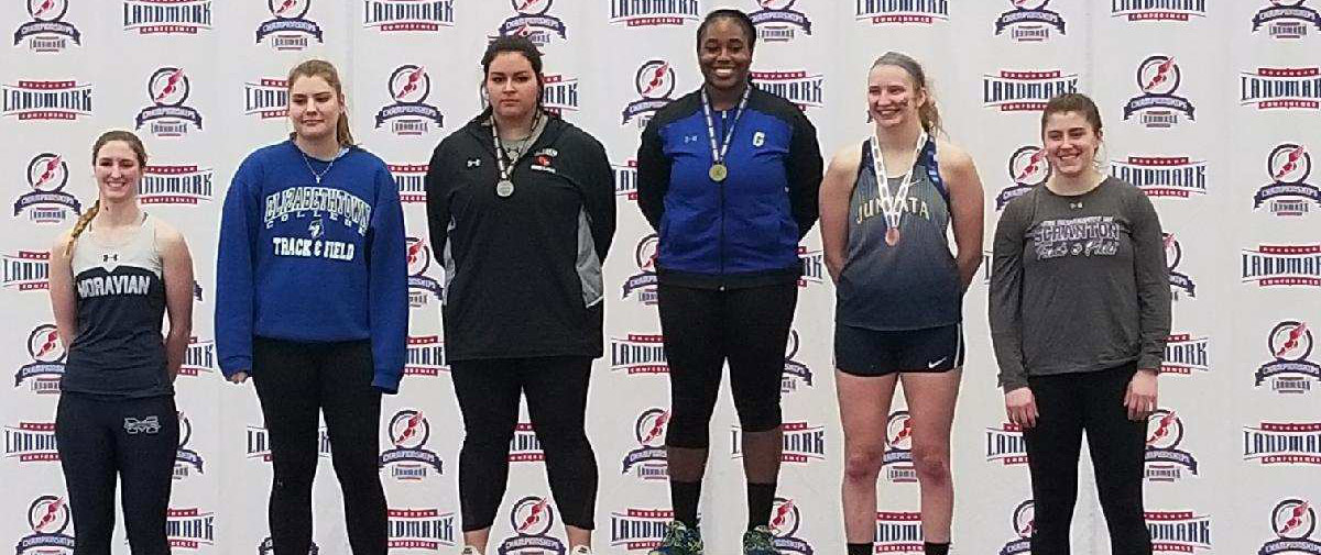 Gunter Wins Shot Put And Finishes Second In Weight Throw At Landmark Conference Indoor Track & Field Championships