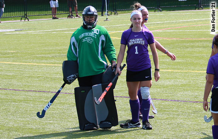 Fluharty Scores Twice, Four Finish with Multiple Points in Field Hockey's Victory