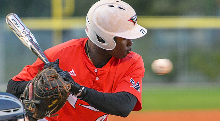 Jaisen Randolph went 3-for-5 with a triple, two runs, two RBI, and three stolen bases as the Eagles beat Tampa 8-4. (Photo by Tom Hagerty, Polk State.)