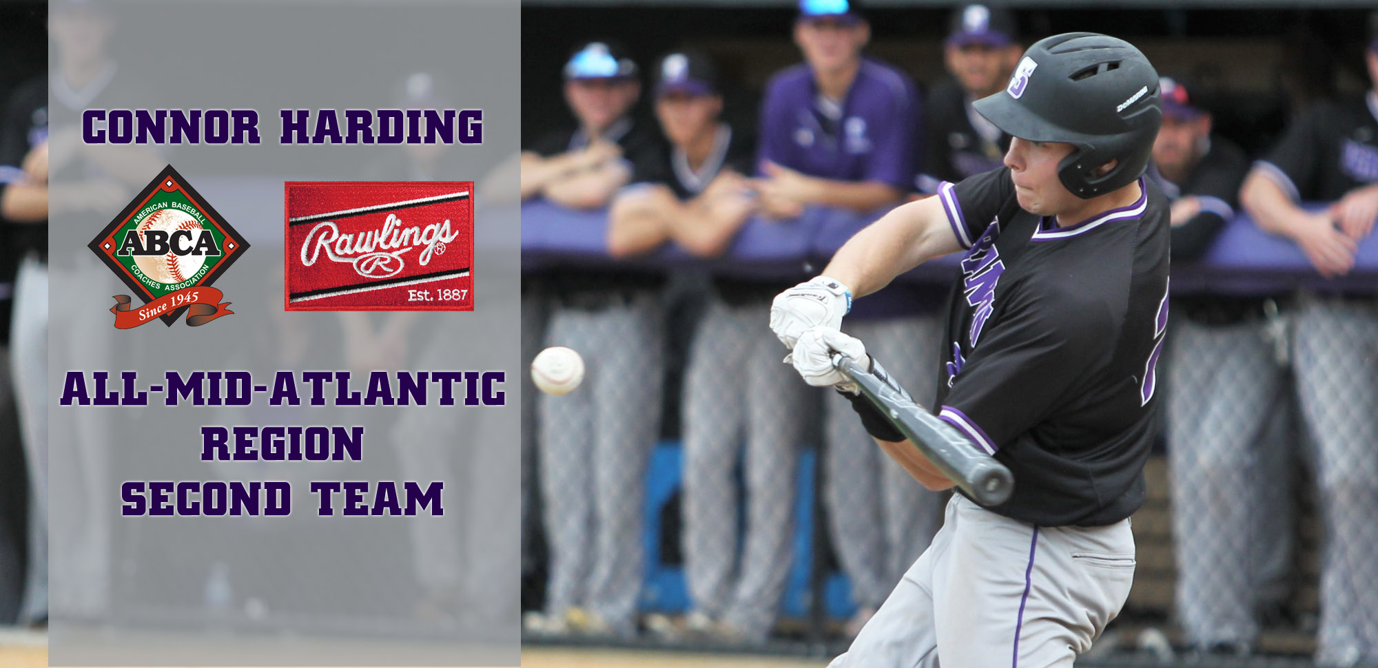 Sophomore outfielder Connor Harding has been named to the ABCA/Rawlings All-Mid-Atlantic Region Second Team. © Photo by Timothy R. Dougherty / doubleeaglephotography.com