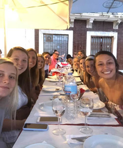 E&H Women's basketball dining in Coimbra, Portugal.