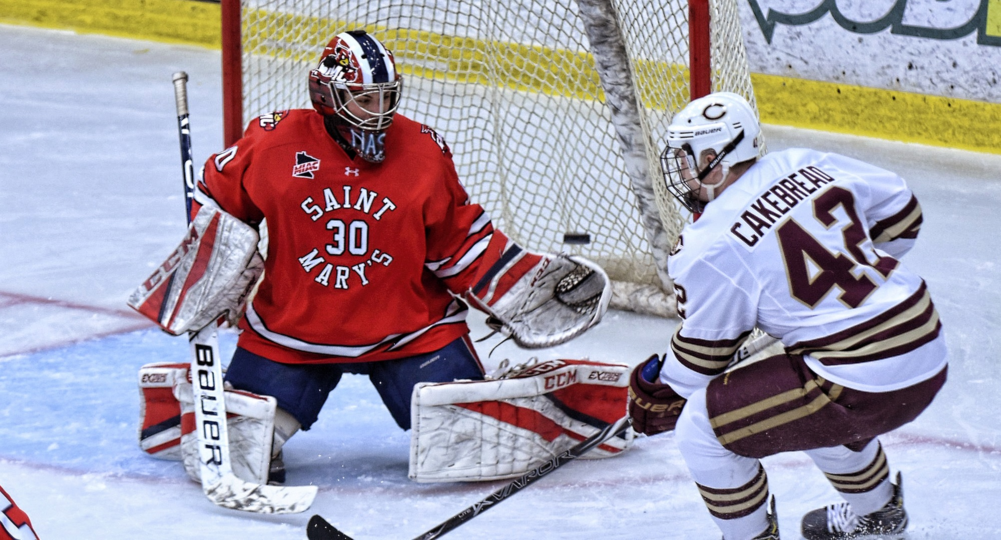 Junior Christian Cakebread watches Alex Stoley's shot elude the St. Mary's goalie to give the Cobbers a 2-1 lead in the third period of the MIAC opener.