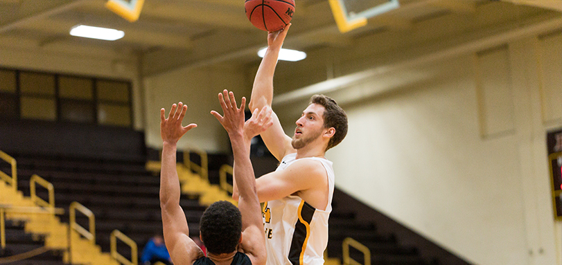 Junior Drew Sova marked a career-high 13 points and a game-high 11 rebounds in the victory over Bethany College (Photo Courtesy of Jesse Kucewicz)
