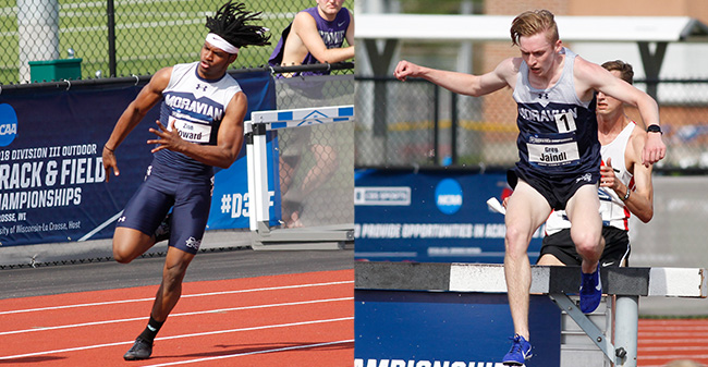 Zion Howard '21 and Greg Jaindl '20 compete on the opening day of the 2018 NCAA DIII Outdoor National Championships. Photos by D3photography.com