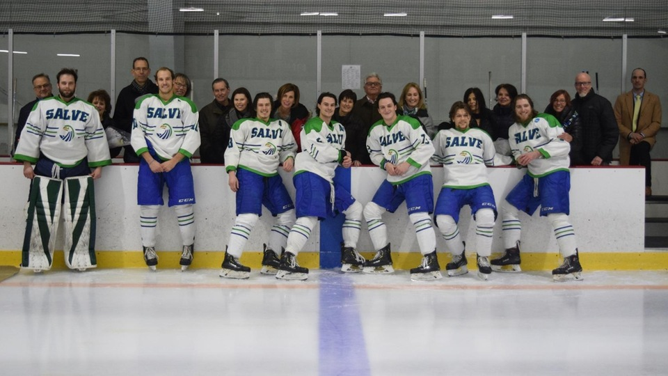 Salve Regina honored its seven seniors, Colin Clapton, Kevin Clare, Nick Cyr, Kyle Moore, Shaun Patry, Evan Schmidbauer, and Blake Wojtala before the game.