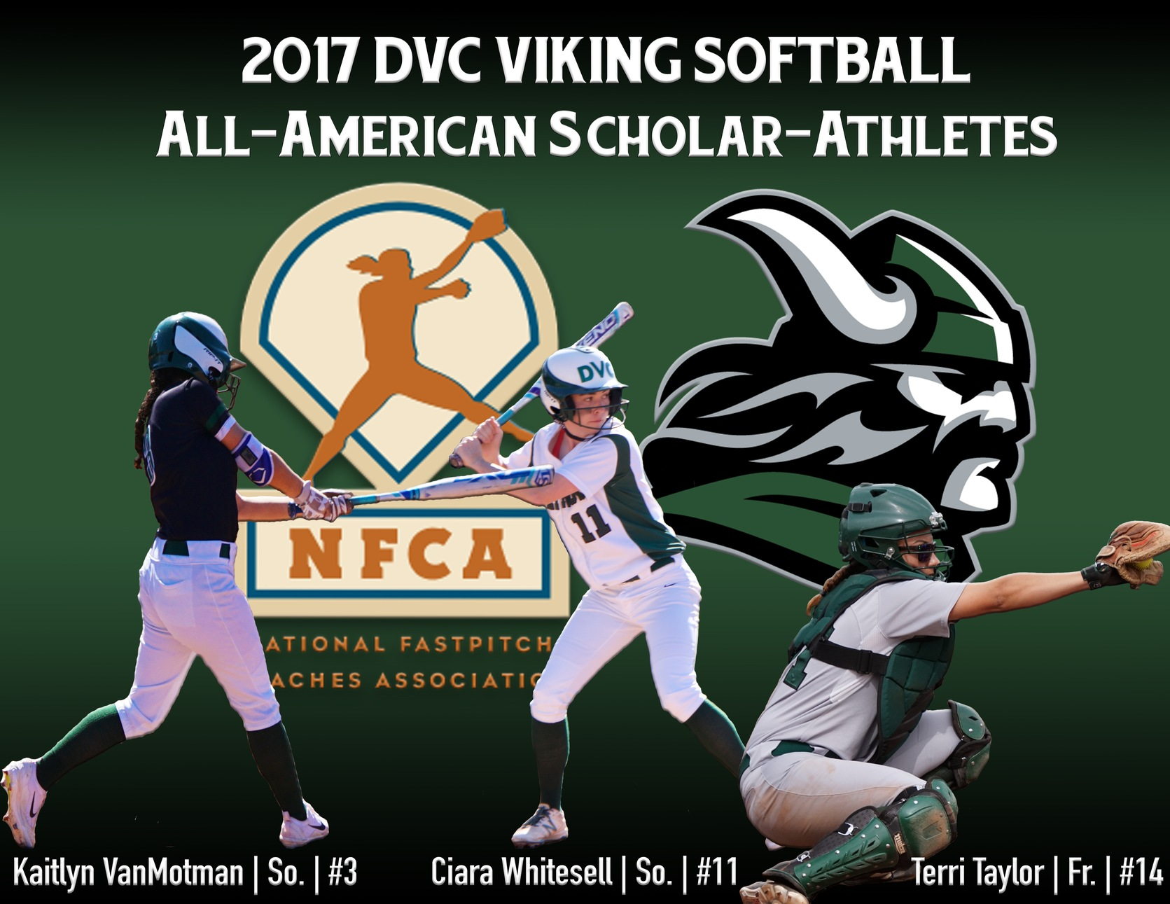 NFCA Honors 3 Vikings with All-America Scholar Athlete Award