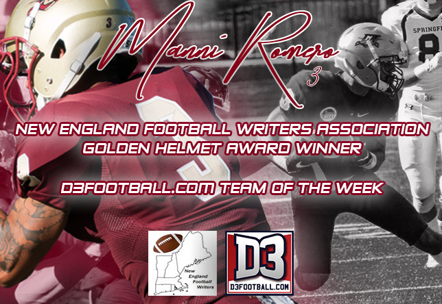 Football: Manni Romero takes home Golden Helmet and D3football Team of the Week Honors