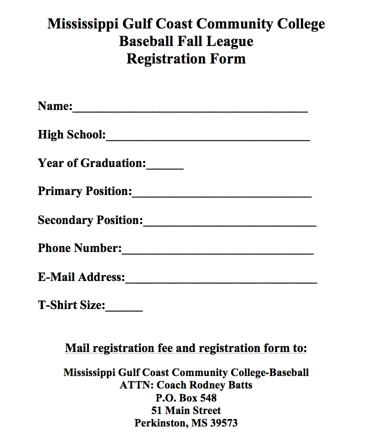 Mgccc Baseball Fall League  Registration Forms  Mississippi Gulf