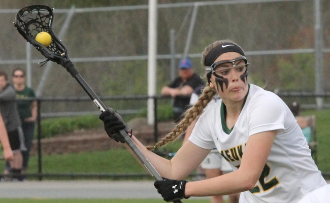 Kendall Neuberger (22) scored three goals for Keuka College in the loss