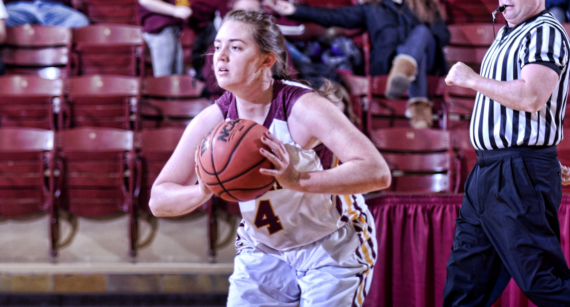 Junior Jamie Mentzer scored eight of her game-high 14 points in the fourth quarter in the Cobbers' win at Augsburg.