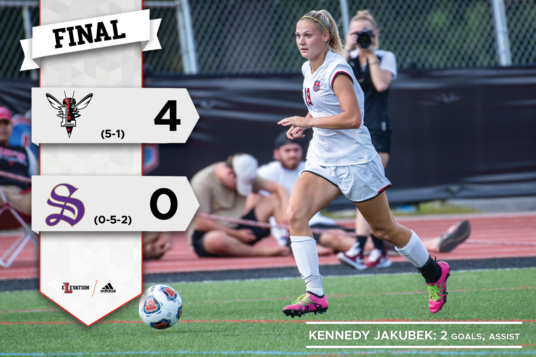 Kennedy Jakubek dribbes the soccer ball. Graphic showing Lynchburg 4-0 win over Sewanee FINAL.