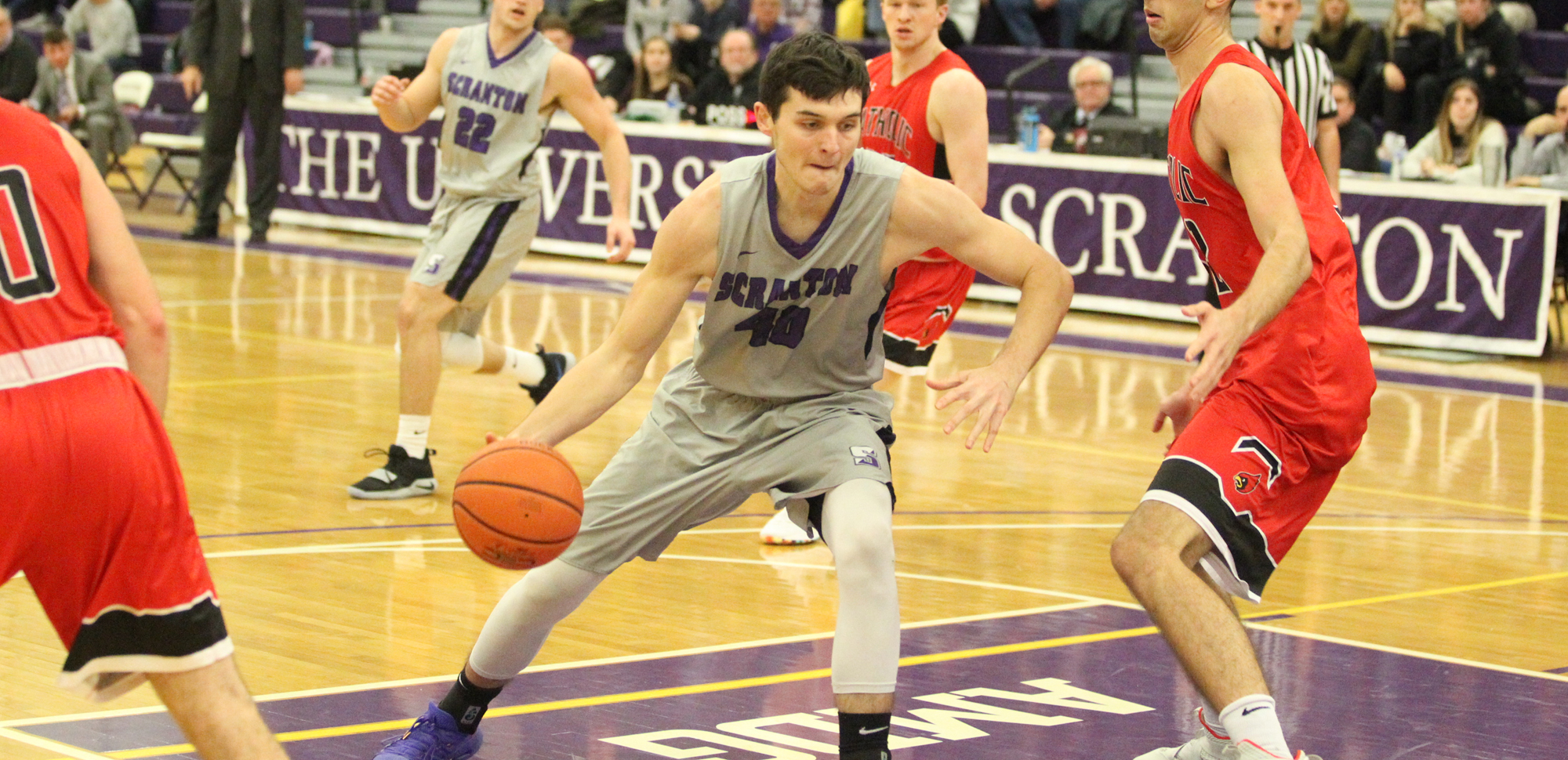 Sophomore Nolan Genasevich posted a double-double on career-highs of 16 points and 11 rebounds on Saturday to lead the Royals past Goucher. © Photo by Timothy R. Dougherty / doubleeaglephotography.com