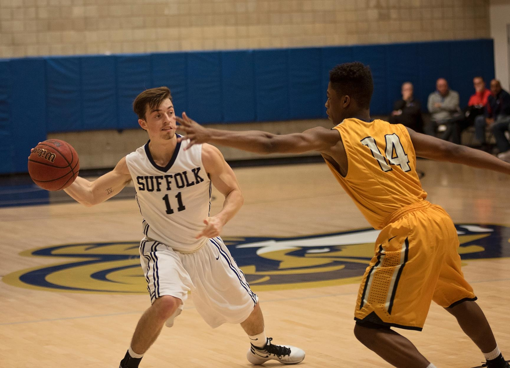 Men's Basketball Stops by Albertus Magnus Saturday